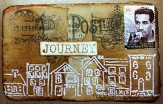 Lonely Cards, Art aMUSEment inspired mixed media cards.. Theme was 'Postage'.