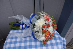 orange blue wedding flowers