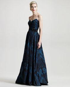David Meister Signature Two-Tone Jacquard Sweetheart Gown - Bergdorf Goodman
