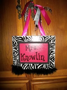 Zebra/Hot Pink Teacher Gift- Hand painted on 8x10 canvas with ribbons and marabou  $25- can be made in any color combo you would like   ©2011Hairbows*N*More