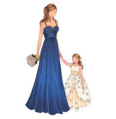 10 Flower Girl Gift Ideas: a fashion illustration of her flower girl dress