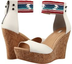Serape beaded ankle cuffs and wedges.