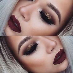 Maquillaje con labios vino tinto @lostruquitosdeellas