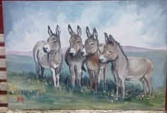 panting on galvanised sink for outside by artistwilma Farm Paintings, Donkeys, Wood Projects, Moose Art, Sink, Artist, Cute, Animals, Sink Tops