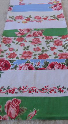 Vintage Tablerunner made from Vintage Tablecloths by DebbieCalif, $29.00