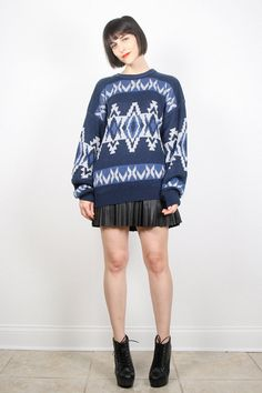 Vintage Cosby Sweater Navy Blue Jumper by ShopTwitchVintage #vintage #etsy