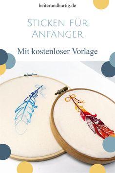 Du suchst nach einem einfachen Stickprojekt, das Spaß macht und nach etwas aussieht? Hier findest du es. Die Feder ist leicht zu sticken und du kannst ganz unterschiedliche Versionen davon gestalten. Das Beste: Die Stickvorlage bekommst du kostenlos. Diy Trend, Blog, Needlepoint, Templates Free, Yarn And Needle, Embroidery Designs, Hand Crafts, Blogging