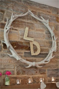 A Gold Bridal Shower Brunch : Glittery gold monograms with rustic wood decor Winter Bridal Showers, Gold Bridal Showers, Rustic Chic, Rustic Decor, Rustic Wood, Antique Decor, Chic Wedding, Rustic Wedding, Antler Wedding Decor