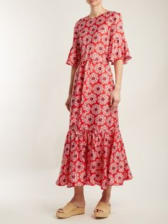 La DoubleJ Editions Curly Swing floral-print silk maxi dress