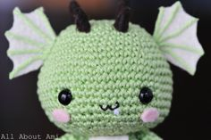 Free Easy Crochet Animal Patterns | And here is a really close-up view of his mouth. Haha, the little fang ..