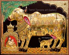 Tanjore Painting using 22 carat original gold foil and embossing, semi precious stone and chettinad teak wood frame. Mysore Painting, Rajasthani Painting, Tanjore Painting, Shri Ram Wallpaper, Hindu Statues, Scratchboard Art, Colorful Rangoli Designs, Lord Vishnu Wallpapers, Traditional Artwork