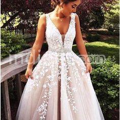 $149.90 Long Beige/Champagne Ball Gown V-Neck Sleeveless Zipper Appliques Prom Dresses 2019