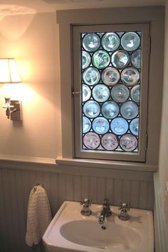 This leaded, rondel stained glass window measures I can make this style window to fit any sized opening. Bathroom Windows, Glass Bathroom, Glass Kitchen, Bathroom Ideas, Bath Window, Leaded Glass, Stained Glass Windows, Glass Door, Making Stained Glass