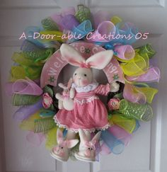 mesh wreaths   FREE SHIPPING..Welcome Spring..Grapevine..Bunny Mesh Wreath