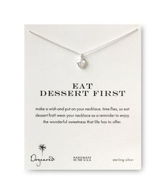 Dogeared Eat Dessert First Cupcake Necklace, Sterling Silver 16 inch