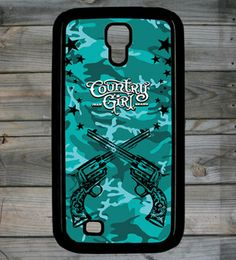 Country Girl ® Crossed Guns Teal Galaxy S4 Phone Case/Cover