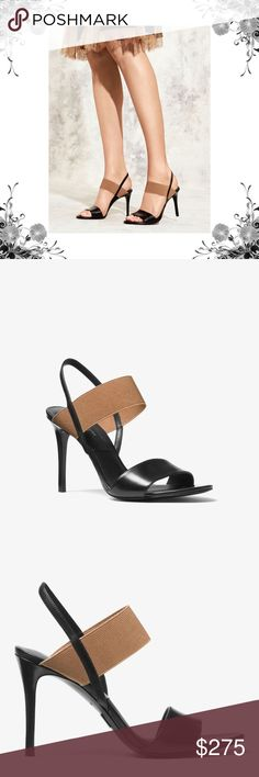 """MK Chantel Calf Leather Sandal Additional pictures coming soon! Crafted from luxe Italian leather with a supportive elasticized band, our Chantal sandals are a chic style that will never date. A sling-back and stiletto heel combine to striking effect. Let them anchor cropped trousers or a cocktail dress with allure. Smooth Calf Leather. Heel Height: 3.5"""". Stacked Heel. Sole: Leather. Slip On. Imported. Bundle for discounts! Thank you for shopping my closet! Michael Kors Shoes Heels"""