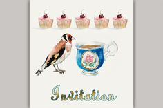 Check out Goldfinch pecks cake. by maria.kytyzova on Creative Market