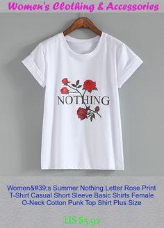 Women's Summer Nothing Letter Rose Print T-Shirt Casual Short Sleeve Basic  Shirts Female O