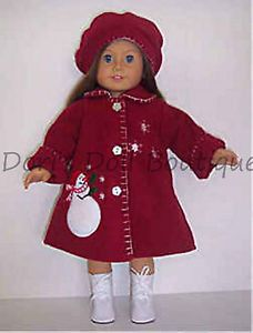 free american girl doll red coat pattern | ... RED FLEECE SNOWMAN COAT & HAT Doll Clothes made for 18 inch American