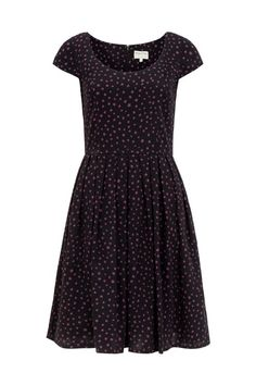 Scoop neck dress with short-sleeves and flared skirt. Wear this super-flattering style with flats by day, or heels by night. Benthe is 5'9.5 and is wearing a size 10.