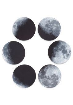 Phase and Nights Coaster Set. Lay your beverage atop one of these moon phase coasters and transform your space for a creative gathering! #multi #modcloth
