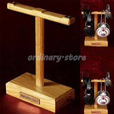 1X Luxury Wooden Headphone Headset Earphone Stand Hanger Holder Display Rack New #UnbrandedGeneric