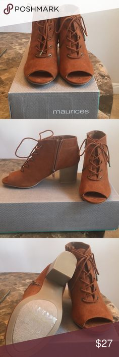 Brand New in box Maurice's boots Brand New,Maurice's, Chelsea Open Toe, zipper on side, lace booties. Offers are welcome! Maurices Shoes Lace Up Boots