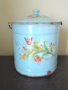 Antique French Enamelware Bucket with Painted Tulips