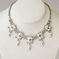 Rose Painted Milk Glass Rhinestone Necklace Bracelet Set- Totally unique and fun!