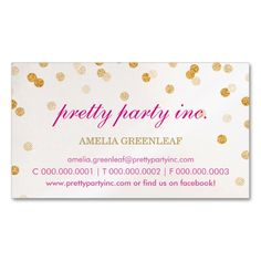 BUSINESS CARD stylish confetti pink gold glitter. This is a fully customizable business card and available on several paper types for your needs. You can upload your own image or use the image as is. Just click this template to get started!