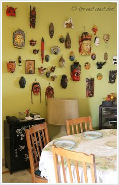 Wall of masks - group your collection to make maximum impact