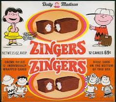 Dolly Madison snacks are best known for their association with Charles Schulz's Peanuts comic strip. Charlie Brown & his friends appeared on packages & in TV commercials in the 1960s-1980s. The bakery was one of the sponsors of the Peanuts animated specials telecast on CBS during that period. Each pie flavor was sold with a different character on the label... Peppermint Patty/strawberry pie, Sally/coconut cream pie, Charlie Brown/cherry pie, Linus/apple pie, Lucy/lemon pie, Schroeder/berry…