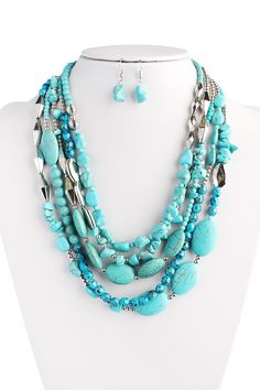 Turquoise Multi Strand Necklace Set