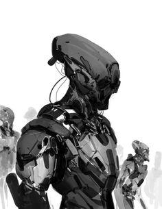 ArtStation - Live Stream Demo, by Anthony Jones Mode Cyberpunk, Cyberpunk Kunst, Arte Robot, Robot Art, Character Concept, Character Art, Draw Tips, Anthony Jones, Sci Fi Armor