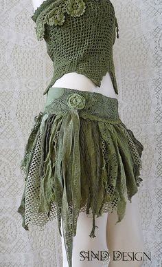 TATTERED SHORT SKIRT elven forest pixie jungle gypsy steampunk