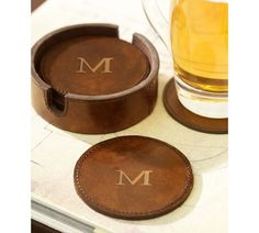 Saddle Leather Drink Coasters, Set of 6 | Pottery Barn