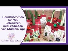 Small handbags for mini gingerbread cookies with DSP Christmas delights, Paper Purse, Small Handbags, Gingerbread Cookies, Christmas Cookies, Stamping Up, Christmas Stockings, Diy And Crafts, Beautiful Pictures, Presents