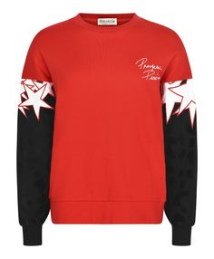 "Oversized red sweatshirt with leopard print and silk appliquéd stars on the sleeves. Also features a ""œPresque Parisienne"" flock print slogan on the left chest. Boxy, oversized fit. High ribbed neckline. Long sleeves with ribbed cuffs. Soft cotton fleece interior."