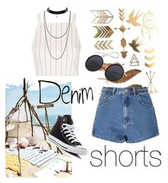 Denim shorts #summer by joziee on Polyvore featuring polyvore fashion style Topshop Glamorous Converse clothing jeanshorts denimshorts cutoffs