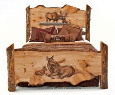 Carved Log Bed with Moose