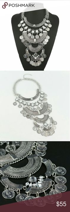 Antique silver coin and Crystal choker Antique silver choker with crystals and coins. Price firm! Jewelry Necklaces