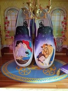 My 2 favourite princesses 💛💚 You NEED Hand Painted Disney Shoes For Your Next Trip – Lizzie In Adventureland Custom Vans Shoes, Custom Painted Shoes, Hand Painted Shoes, Disney Vans, Disney Shoes, Disney Clothes, Little Mermaid Shoes, Disney Painted Shoes, Painted Converse