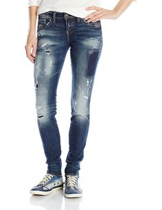 Silver Jeans Co. Women's Jeans Aiko Mid Rise Skinny Jean -- This is an Amazon Affiliate link. Want additional info? Click on the image.