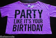 NWT Victoria Secret ♥ PINK PARTY LIKE IT'S YOUR BIRTHDAY Crop Tee T-Shirt