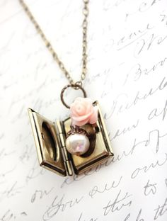 Book Locket Necklace Pendant Pastel Pink Rose by apocketofposies For your accessorizing needs, check out www.treenabean.etsy.com