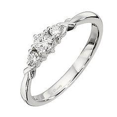 9ct White Gold Quarter Carat Diamond Trilogy Ring