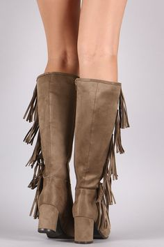 These chic fringe design, and wrapped block heel. Finished with a cushioned insole, smooth lining, and full-length side zipper closure for easy on/off. Mid Calf Boots, Knee High Boots, Side Fringe, Block Heels, Shoes, Fashion, Moda, Zapatos, Side Fringe Bangs