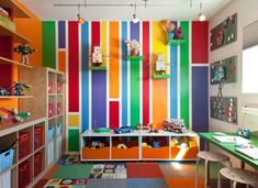 Bright Colorful Striped Wall Color Scheme For Little Boy Room Decorating With Cool Track Lighting And Cream Painted Wooden Cubicle Shelves Equipped Storage Bins As Well As Beautiful Square Pattern Rug, Spectacular Room Decoration Ideas For Little Boys: Bedroom, Interior, Kids Room