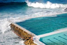 The ocean pools below the famous Bondi Icebergs Swim club in Bondi Beach, Sydney, Australia.